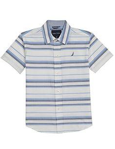 Boys' Short Sleeve Stripe Button Down Shirt