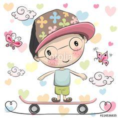 Вектор: Cute Boy wiht a cap on a skateboard