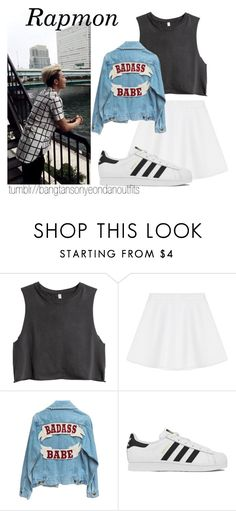 """BTS inspired aesthetic outfit - rap monster"" by bangtanoutfits ❤ liked on Polyvore featuring H&M, RED Valentino, adidas, kpop, bts and rapmonster"