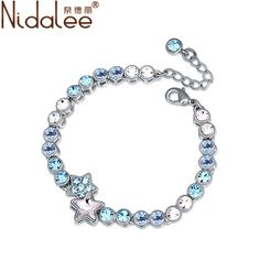 Chinese Cymbidium Blue 925 Sterling Silver Sparkling Crystal Bracelet