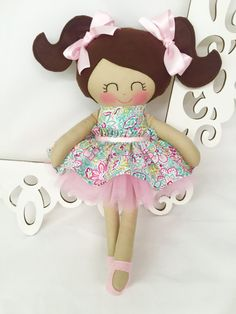 Cloth baby doll -  Fabric Doll- Pink - Girl Toy - Girl Gift