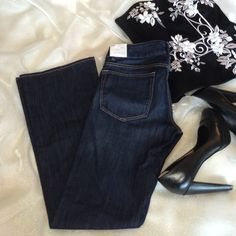 """NWT GAP dark wash 1969 Perfect Boot jeans Awesome jeans! Size 2 short. Dark wash blue. 79% cotton, 20% poly, 1% spandex. Measures 32"""" waist, 8"""" rise, 30"""" inseam. Brand new! Nonsmoking home. GAP Jeans Boot Cut"""