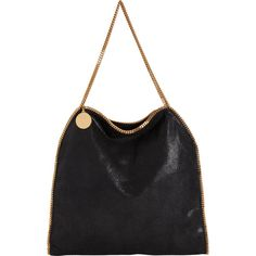 Stella McCartney Falabella Shaggy Deer Big Tote (10.905 HRK) ❤ liked on Polyvore featuring bags, handbags, tote bags, purses, black, black faux leather purse, fold over tote, black faux leather tote, vegan tote and black tote