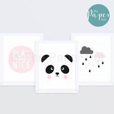 £9.99 Girl's Bedroom   Children s Art Print Pink  8 x10  Three Pack   Panda & Clouds