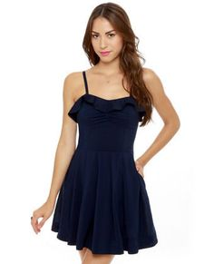 Cute Navy Blue Dress - Fit and Flare Dress - Sundress - $45.00
