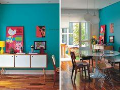 parede azul tiffany, parede azul turquesa, casa casada