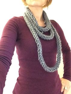 Women's handmade infinity scarf. Knitted. Charcoal grey. by TheScarfRoom on Etsy