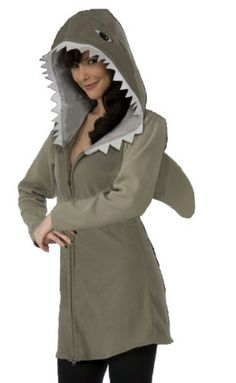 Shark-Hoodie-Fin-Halloween-Costume-Adult-Men-Women-Gray-Fish-Jaws-New-One-Size