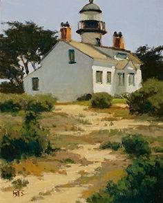 Pt Pinos Lighthouse by Brian Blood Oil ~ 14 x 11