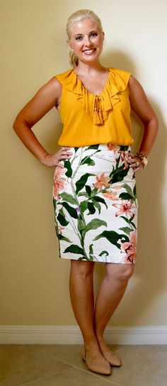 Her Dailey Style: work outfit: tropical pencil skirt + ruffle top