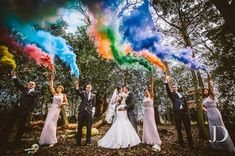 19 Reasons Smoke Bombs Are The Hottest Wedding Photo Trend. Neat to have just your wedding colors