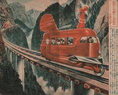 great  collection #ephemera Comics Illustration, Magazine Illustration, Cyberpunk, Day In Japanese, Japanese Travel, Japanese Art, Science Fiction, Steampunk, Future Transportation