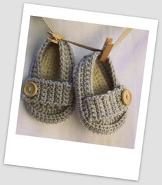 Newborn, 0-3 mths, 3-6 mths Crochet Wool Ollie Baby Shoes/Booties