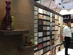 Visiting with Bedrosians Tile and their wall of tile goodness! #dod2013 Dwell On Design, Wine Rack, Tile, Photo Wall, Good Things, Storage, Frame, Furniture, Home Decor