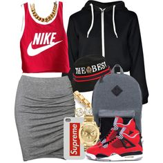 A fashion look from December 2014 featuring Boohoo hoodies, NIKE tops and Witchery skirts. Browse and shop related looks.