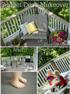 Budget Deck Makeover.  How to take care of splinters and make an outdoor living room on a budget! (includes a two-year update with details on how the products used held up in severe weather!)