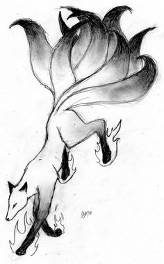 Kitsune Drawing | Kitsune Spirit Sketch by BlackMagpie