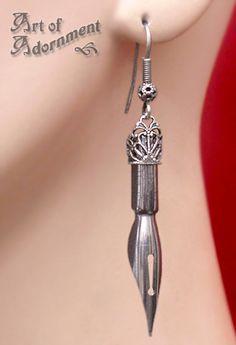 Argenta Steampunk Calligraphy Pen Nib Earrings $17.00