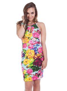 - Aqua Floral Print Front and Back Key Hole Opening Wiggle Dress Get The Party Started, Wiggle Dress, Clothing Company, Wholesale Clothing, Floral Prints, Perfume, Stylish, Cute, Aqua