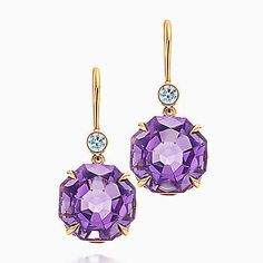 Tiffany Sparklers drop earrings in 18k rose gold with amethysts and diamonds.