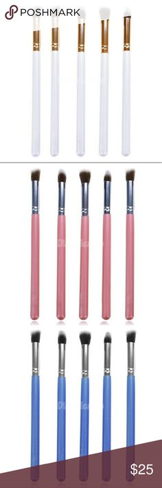 "Eyeshadow tool brushes 5 pieces set Eyeshadow tool brushes set of 5 pieces. Handle material : wood Brush material : synthetic hair Sleek ferrule : aluminum Size 7"" in length Brand new and soft, high quality makeup brushes.   5% towards bundle discount. STARCREST Makeup Brushes & Tools"
