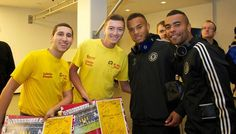 Ryan Bertrand and Ashley Cole. Chelsea FC players and manager meet cancer survivors in Bucharest.