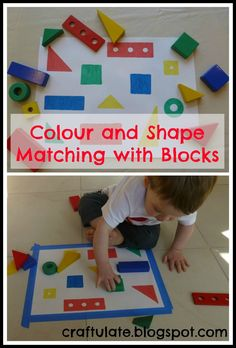 This is a great idea from Hands on : as we grow. I wanted to colour in the outlines so I prepared it in advance of the activity.             I picked out some wooden blocks in different colours and shapes. I also used a couple of pieces from F's wooden toolkit for variety. Then I traced around them on a large sheet of paper and coloured them in.        This would be a great activity for an older sibling to prepare for a younger one - and I'm sure a child's colouring-in skills would be…
