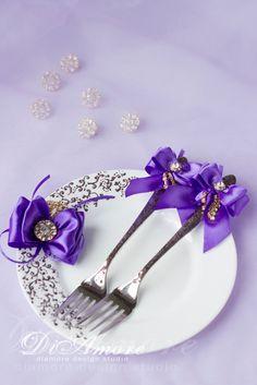 Purple and Brown Wedding Set of Wedding fork and от DiAmoreDS