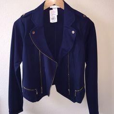 Agaci Moto Blazer Navy blue blazer w/gold details a'gaci Jackets & Coats Blazers