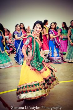 Great outfit for sangeet or haldi Navratri Garba, Navratri Dress, Beautiful Girl Photo, Lovely Girl Image, Indian Wedding Outfits, Indian Outfits, Wedding Dresses, Garba Dance, Indian Look