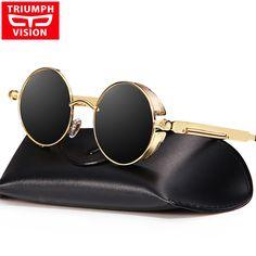 36dec69d65 TRIUMPH VISION Vintage Round Steampunk Sunglasses Men Male Polarized Brand  2017 Shades Sun Glasses For Men