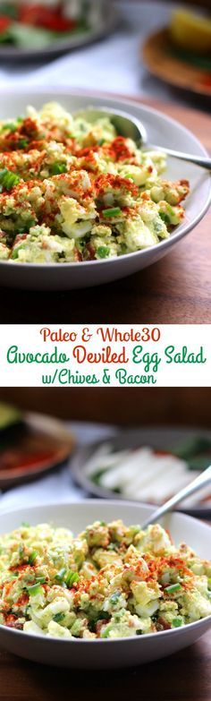 deviled avocado egg salad that's fast, healthy, Paleo and Whole30 friendly and contain NO mayo!  Bacon and chives give this savory Paleo egg salad tons of flavor!