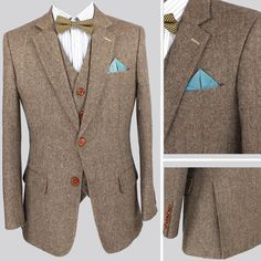 MENS TAN 3 PIECE TWEED SUIT WEDDING PARTY PROM TAILORED SMART ...