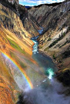 ~~The Grand Canyon of the Yellowstone, Yellowstone National Park | from the Brink of the Lower Falls, first stop at the North Rim Drive, Old Faithful, Wyoming by ThorsHammer94539~~