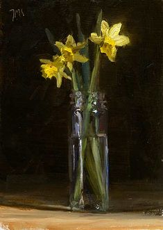Jonquils in a jar A Daily painting by Julian Merrow-Smith Flower Vases, Flower Art, Still Life Artists, Still Life Flowers, Art Folder, Painting Still Life, Art Floral, Watercolor Flowers, Painting Flowers