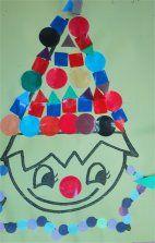 * Een mooie kleurplaat waarvan je de hoed vol laat plakken met verschillende plakfiguren. Voor de oudere kinderen geef je de opdracht een reeks te plakken. Kijk maar eens naar de kraag van de clown.
