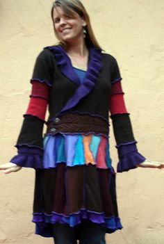 Upcycled Earth Rainbow Sweater Coat with Periwinkle Ruffle Pewter Buttons on Etsy, $225.00