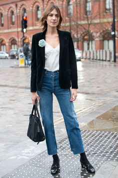 Alexa kept its simple in cropped jeans, a velvet jacket, and Mary Janes with socks. The shoe/sock trend is becoming an favourite with fashionistas.