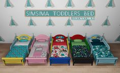 SimSima Toddlers Bed for The Sims 4 Toddler Bed Frame, Toddler Bed Mattress, Sims Baby, Sims 4 Toddler, Sims 4 Cc Furniture, Toddler Furniture, Pink Furniture, Sims 4 Beds, Sims 4 Traits