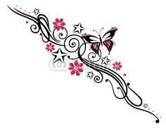 Tattoo, Blumen, Blüten, Schmetterling, pink, rosa von christine krahl