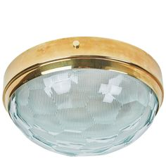rewire / Multifaceted Glass and Brass Flushmount Ceiling Light