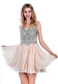 A Line V Neck Short Nude Chiffon Beaded Cocktail Prom Dress Nude Prom Dresses, Prom Dresses 2016, Prom Dresses For Sale, Cute Dresses, Evening Dresses, Formal Dresses, Attractive Girls, Beaded Chiffon, Perfect Prom Dress