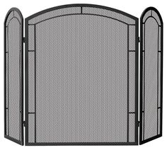 Uniflame® Arched Top 3-Panel Black Wrought Iron Fireplace Fire Screen