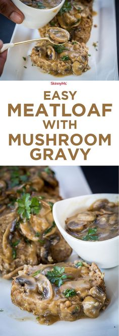 with Mushroom Gravy Easy Meatloaf with Mushroom Gravy - One word: Irresistible!Easy Meatloaf with Mushroom Gravy - One word: Irresistible! Easy Meatloaf, Turkey Meatloaf, Meatloaf Recipes, Mushroom Meatloaf, Sausage Recipes, Casserole Recipes, Meat Recipes, Cake Recipes, Dessert Recipes