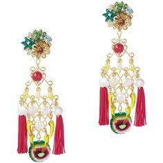 Mercedes Salazar Double Fringe Earrings ($198) ❤ liked on Polyvore featuring jewelry, earrings, pink, clip on chandelier earrings, beaded tassel earrings, pink chandelier earrings, beaded earrings and pink jewelry