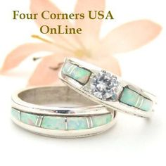 Four Corners USA Online - Bridal Engagement Wedding Ring Set Size 9 White Fire Opal Native American Silver Jewelry WS-1404, $225.00 (http://stores.fourcornersusaonline.com/bridal-engagement-wedding-ring-set-size-9-white-fire-opal-native-american-silver-jewelry-ws-1404/)