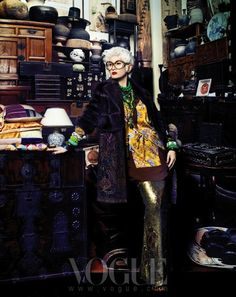 """""""Senior Style"""": Anna Piaggi, Lynn Yaeger, and Iris Apfel Impersonators by Hyea W. Kang for Vogue Korea October 2012   The Terrier and Lobster"""