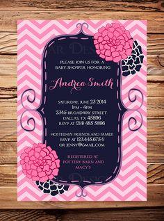 Baby shower invitation, flowers baby shower Invitation, navy, pink, teal,  boy, girl, Baby Shower Invite, pink, navy blue, digital on Etsy, $21.00