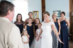 Fathers First Look; Allure Bridal; Bridesmaids; Southern Wedding; Oak Level Farm