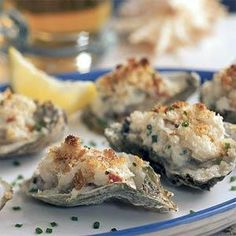 Oysters Chesapeake - This dish combines two of the Chesapeakes most beloved foods: oysters and crabs. Cook on the bottom broiler rack, or breadcrumbs will burn before the oysters are cooked through. Seafood Dishes, Fish And Seafood, Seafood Recipes, Appetizer Recipes, Appetizers, Cooking Recipes, Shellfish Recipes, Antipasto, Caviar